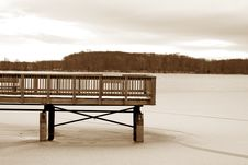 Wooden Dock On A Frozen Lake Stock Image