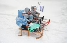 Free Boys On Sled Stock Photography - 3819152