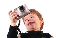 Young Boy Taking A Photograph Royalty Free Stock Photo