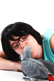 Free Red Tale Parrot On White Kissing With Female Royalty Free Stock Photo - 3819665
