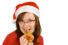 Free Santa Girl With Red Specs And Reindeer Gingerbread Royalty Free Stock Photos - 3821708