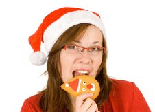 Free Santa Girl With Red Specs And Santa Gingerbread Royalty Free Stock Photography - 3821747
