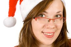 Young Girl With Santa Hat, Red Specs Stock Images