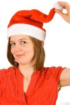 Free Girl Showing Her Santa Hat Stock Photos - 3821943