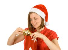 Free My Gold Gift, Santa Girl And Her Gift Stock Image - 3821951