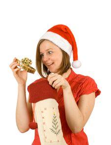 Free My Gold Gift, Santa Girl And Her Present Stock Image - 3821971
