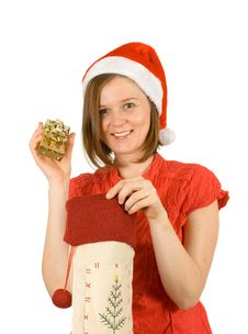 Free My Christmas Gift, Santa Girl With Her Present Stock Photography - 3821972