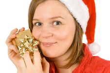 Free My Christmas Gift, Cute Santa And Her Golden Wrap Stock Image - 3821991