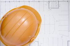 Free Draft Papers And Hard Hat Royalty Free Stock Photography - 3823567