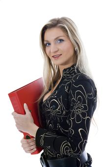 Free Business Woman With Folder Royalty Free Stock Image - 3824526