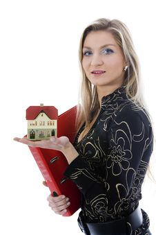 Free Business Woman Advertises Real Estate Stock Photo - 3824550