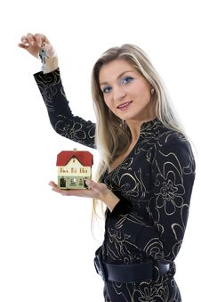 Free Business Woman Advertises Real Estate Stock Image - 3824561