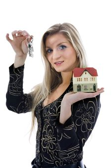 Free Business Woman Advertises Real Estate Stock Images - 3824574