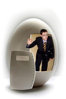 Businessman Broken Big Egg Royalty Free Stock Photos