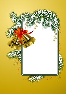 Free Frame With Christmas Bells Gold Color Stock Image - 3825141