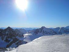 Free Snow Mountains & Sun Stock Image - 3825261