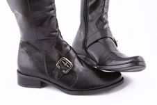 Free Fashionable Leather Female Boots Royalty Free Stock Photos - 3825718