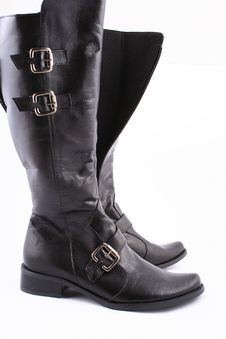 Free Fashionable Leather Female Boots Royalty Free Stock Photos - 3825748