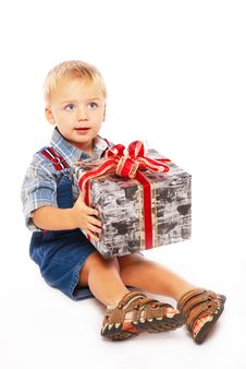 Free Cute Child With Gift In Hands Stock Photography - 3826982