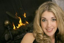 Free Blonde By The Fire Stock Image - 3827131