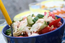 Salad With Tomatoes And Cucumbers Stock Image