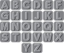 Free Complete Gray Set Of English Alphabets Royalty Free Stock Photo - 38277835