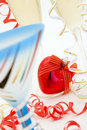 Free Glass Of Champagne And Christmas Red Heart Royalty Free Stock Images - 3838349