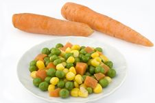 Vegetables And Two Carrots Stock Photos