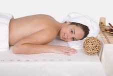 Beautiful Woman Relaxing On Massage Table - Spa Stock Image