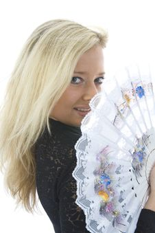 Free Beautiful Girl With Fan Stock Image - 3831241