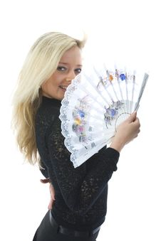 Beautiful Girl With Fan Royalty Free Stock Photography