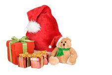 Free Red Gift Box, Santa Teddy And Hat Stock Photo - 3831280