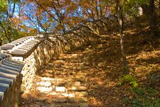 Asian Ancient Wall And Step Stones Royalty Free Stock Photography