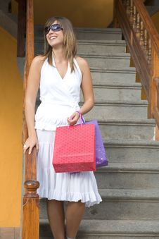 Free Beautiful Girl With Shopping Bags Stock Photo - 3831410
