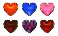 Free Six Colorful Hearts Royalty Free Stock Image - 3831656