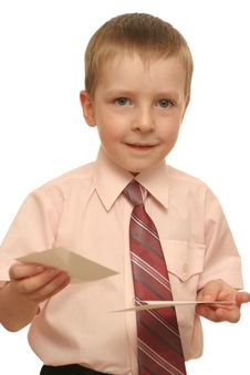 Free The Happy Boy Holds In A Hand An Envelope Stock Image - 3831791