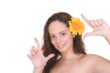 Free Beautiful Girl With A Flower Stock Photography - 3831812