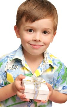 Free The Nice Boy Holds A Gift In Hands Stock Photography - 3831882