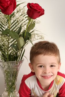 Free Sight Of The Boy Also Three Red Roses Royalty Free Stock Photography - 3832397