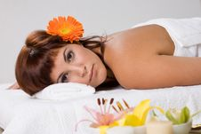 Free Beautiful Girl Relaxing On Massage Table Royalty Free Stock Photography - 3834097