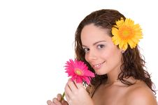 Free Beautiful Girl With A Flower Royalty Free Stock Photos - 3834418