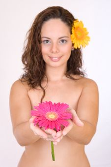 Free Beautiful Girl With A Flower Stock Photos - 3834493
