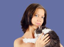 Free Young Woman  And Cat 2 Royalty Free Stock Photos - 3835328