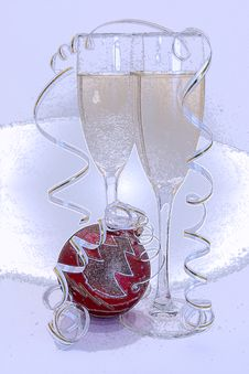 Free Glass Of Champagne At New Years Royalty Free Stock Images - 3837019