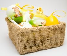 Easter Eggs And Chick Stock Images