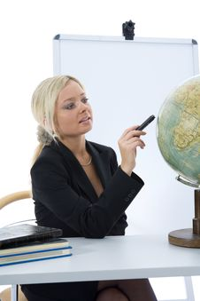 Free Young Teacher Will Teach Geography Royalty Free Stock Photography - 3838207