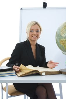 Free Young Teacher Will Teach Geography Royalty Free Stock Photos - 3838258