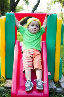Free Child On Slide Stock Photo - 3840700