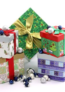Christmas Gift Boxes With Christmas Ornaments Stock Photos