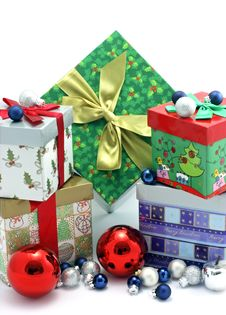 Christmas Gift Boxes With Christmas Ornaments Stock Photo